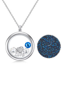 Mestige Blue Valentine Floating Charm Necklace with Swarovski Crystals - 252997