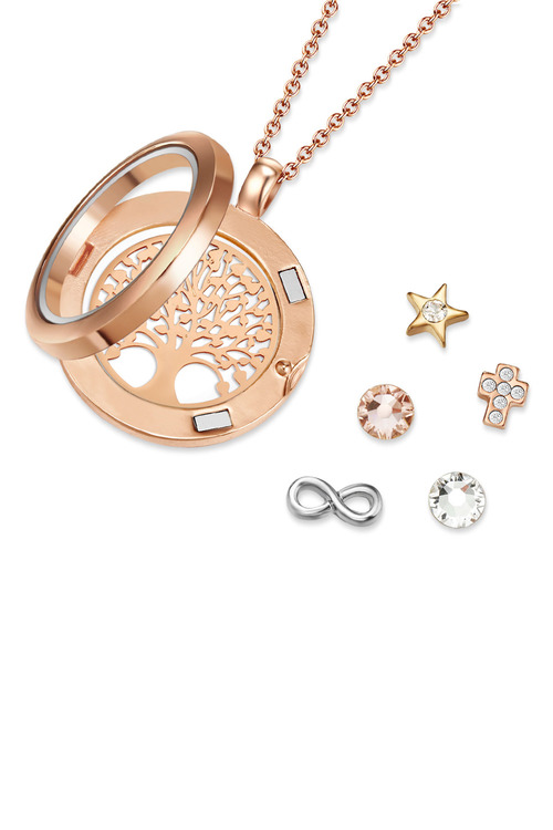 Mestige Holy Tree of Life Trinity Floating Charm Necklace with Swarovski Crystals