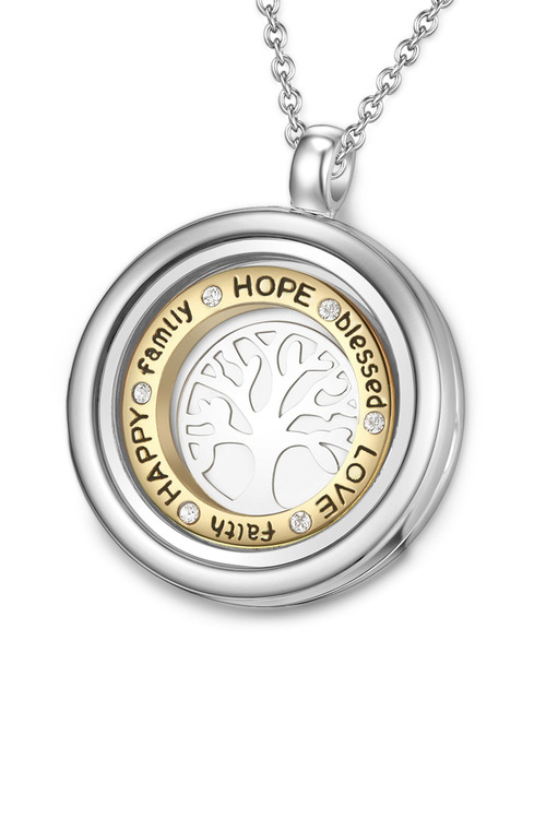 Mestige Inscribed Tree of Life Dual Floating Charm Necklace with Swarovski Crystals