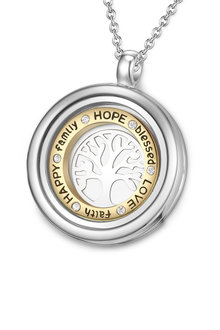 Mestige Inscribed Tree of Life Dual Floating Charm Necklace with Swarovski Crystals - 252999
