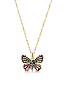 Mestige Golden Butterfly Effect Necklace with Swarovski Crystals