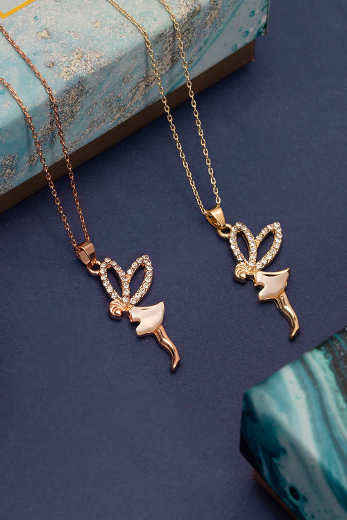 Mestige Rose Gold Fairy Dust Necklace with Swarovski Crystals