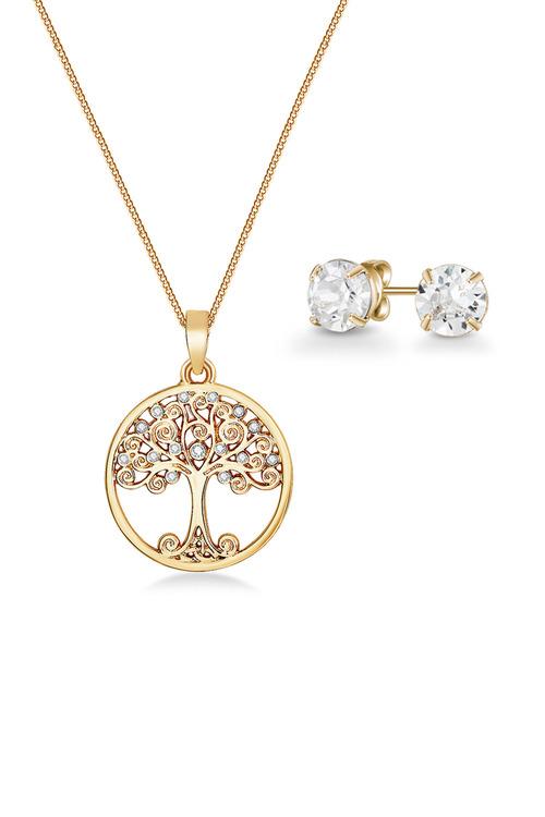 Mestige Golden Back to Nature Set with Swarovski Crystals