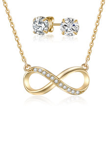 Mestige Gold Infinity Necklace & Earring Set with Swarovski Crystals - 253007