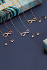 Mestige Gold Infinity Necklace & Earring Set with Swarovski Crystals