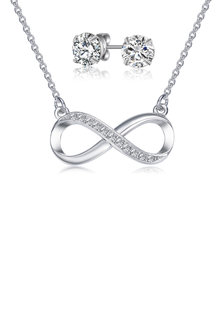 Mestige Infinity Necklace & Earring Set with Swarovski Crystals - 253008