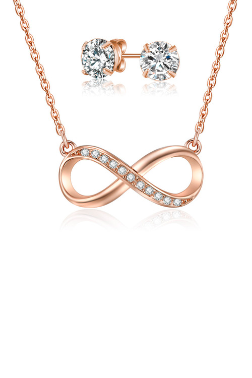 Mestige Rose Gold Infinity Necklace & Earring Set with Swarovski Crystals