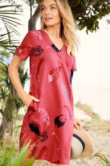 Capture Linen Blend V Neck Shift Dress - 253028