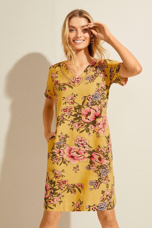 Capture Linen Blend V Neck Shift Dress