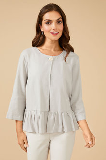 Grace Hill Linen Button Front Jacket - 253034