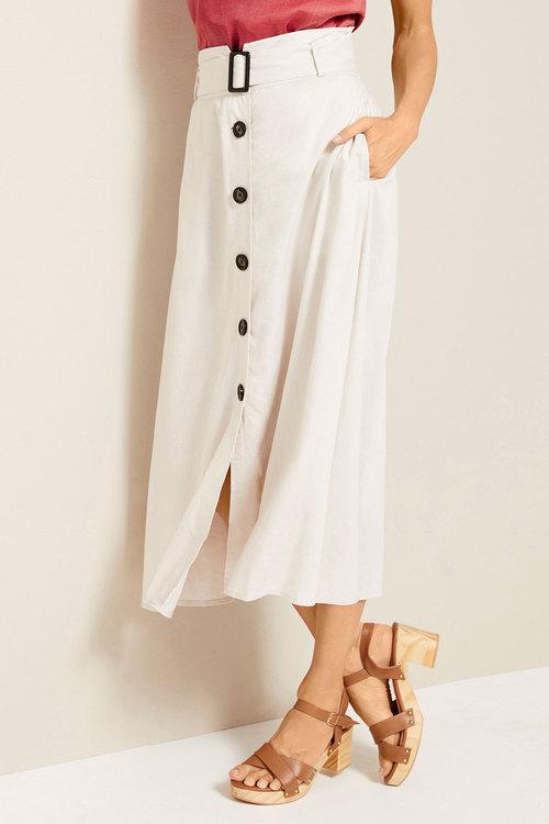 Grace Hill Linen Belted Button Skirt