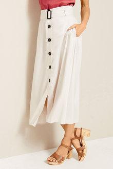 Grace Hill Linen Belted Button Skirt - 253035