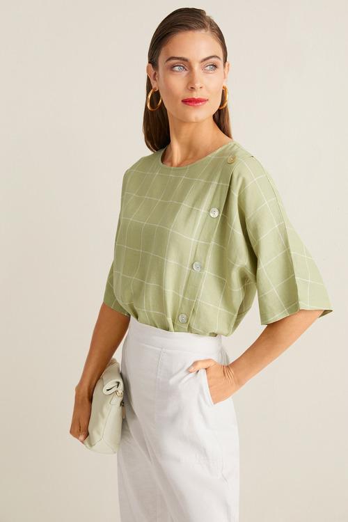 Grace Hill Linen Blend Button Front Top