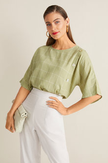 Grace Hill Linen Blend Button Front Top - 253038