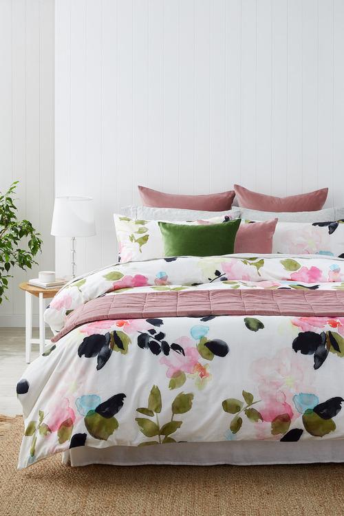 Rose Garden Slub Cotton Duvet Cover Set