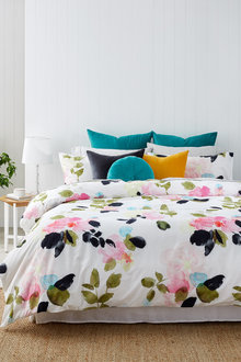 Rose Garden Slub Cotton Duvet Cover Set - 253041