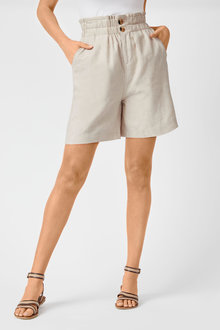 Emerge Linen Blend  Button Short - 253119