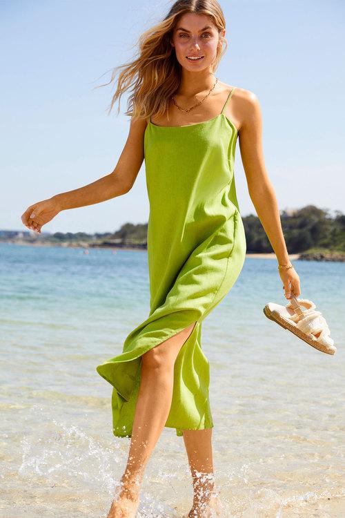 Emerge Linen Blend Slip Dress