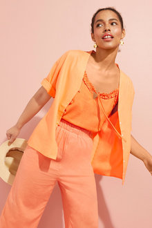 Emerge Linen Blend Kimono Shirt - 253126