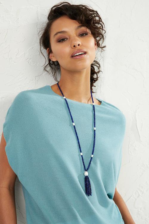Fairfax & Roberts Pearl & Agate Tassel Necklace