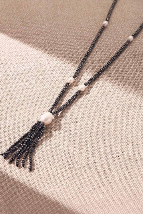 Fairfax & Roberts Pearl Haematite Tass Necklace