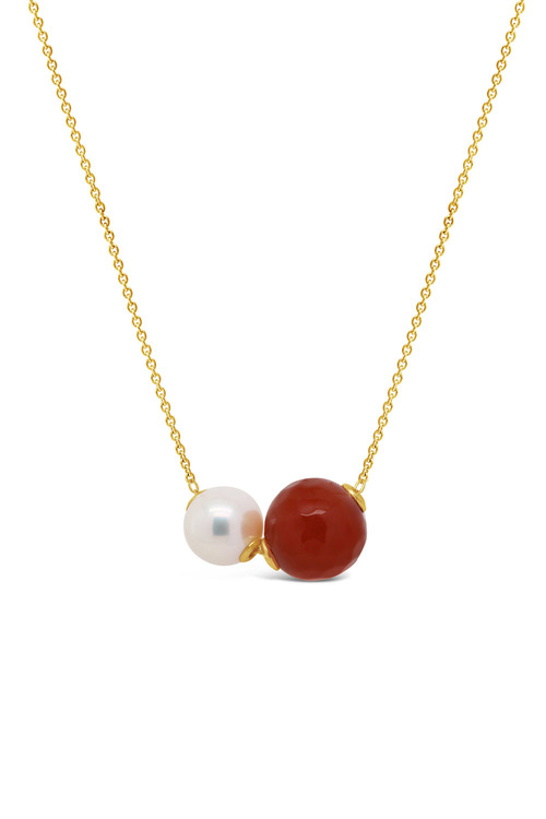 Fairfax & Roberts Pearl & Agate Slider Necklace