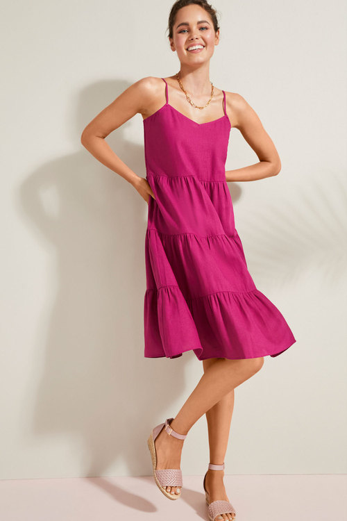 Emerge Linen Blend Tier Dress