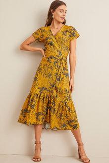 Capture Linen Ruffle Hem Wrap Dress - 253255