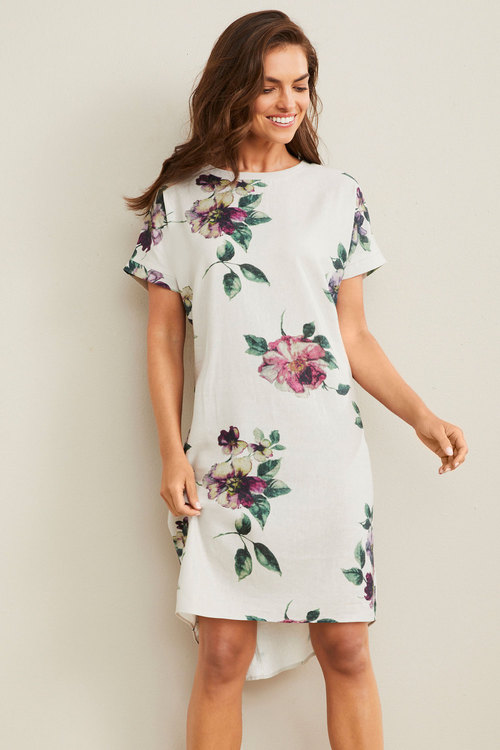 Capture Linen Rib Trim Dress