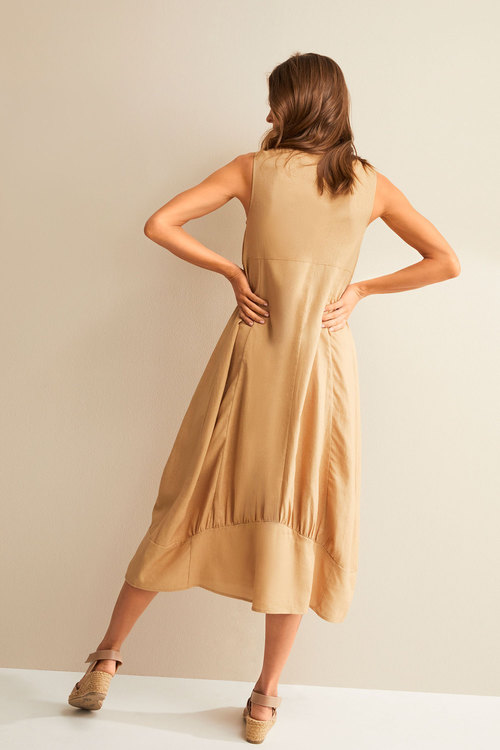 Grace Hill Linen Blend Cocoon Midi Dress