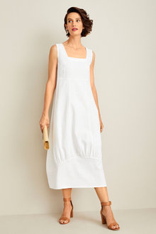 Grace Hill Linen Blend Cocoon Midi Dress - 253258