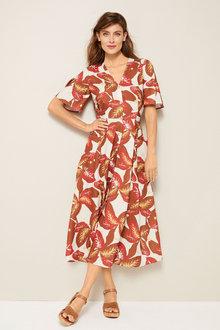 Grace Hill Linen Blend Belted Shirt Dress - 253259