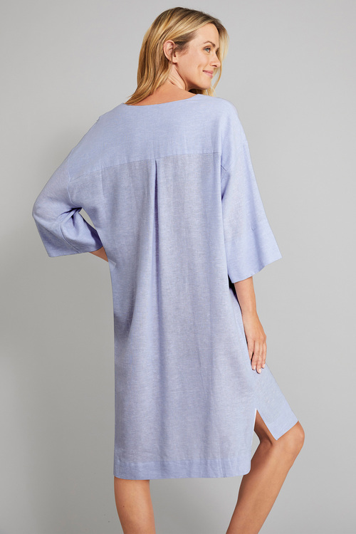 Grace Hill Linen Notch Neck Shift Dress