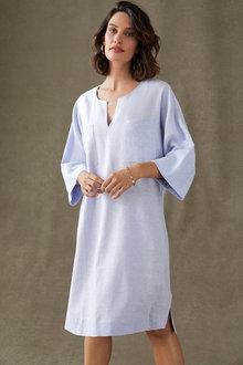 Grace Hill Linen Notch Neck Shift Dress - 253261