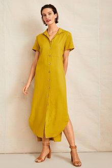 Grace Hill Linen Shirt Dress - 253264