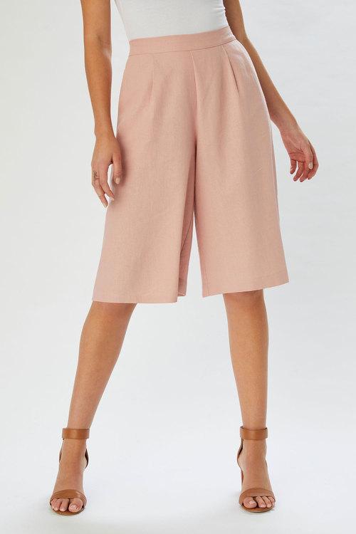 Grace Hill Linen Blend Pleated Short
