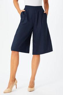 Grace Hill Linen Blend Pleated Short - 253265