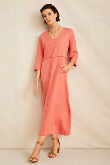 Grace Hill Linen V Neck Midi Dress - 253266