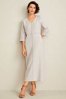 Grace Hill Linen V Neck Midi Dress - 253266
