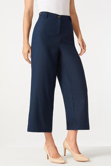 Grace Hill Linen Button Detail Culottes - 253267