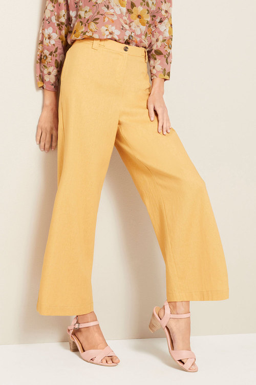 Grace Hill Linen Button Detail Culottes