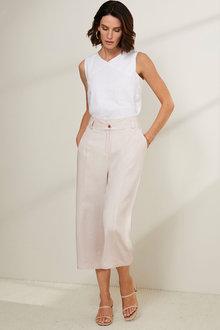 Grace Hill Linen Panel Detail Trousers - 253268