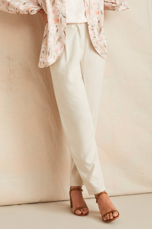 Grace Hill Linen Blend Straight Leg Pant