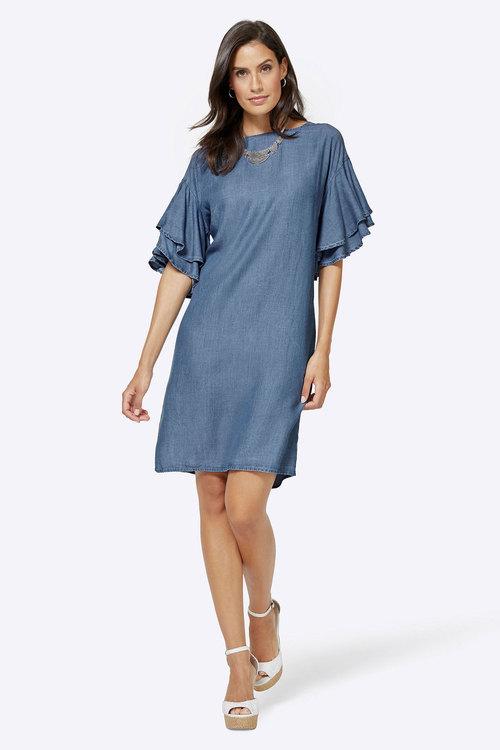 Euro Edit Volant Sleeve Lyocell Dress