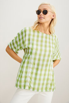 Emerge Linen Blend Gingham Gather Top - 253291