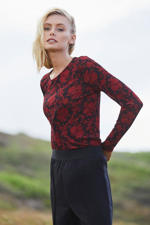 Emerge Printed Long Sleeve Knit Top