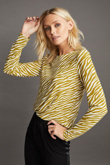 Emerge Printed Long Sleeve Knit Top - 253296