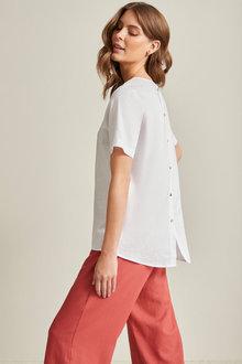 Grace Hill Linen Button Back Top - 253302