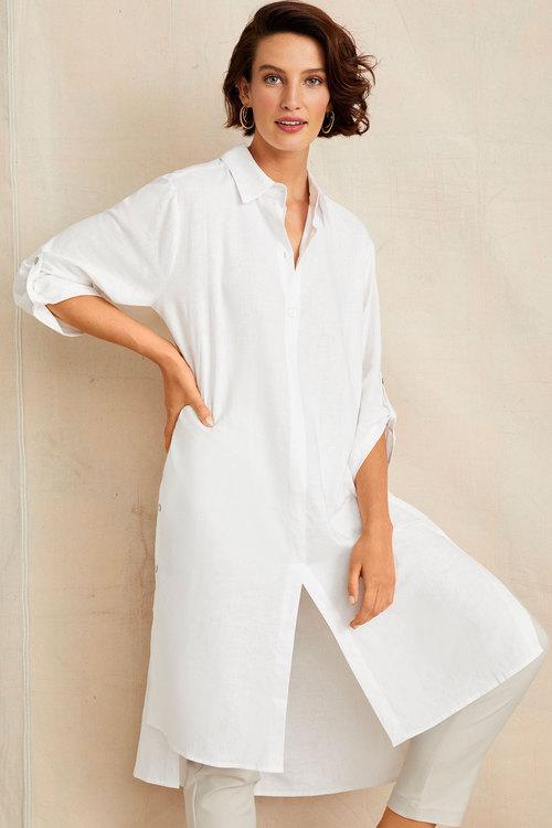 Grace Hill Linen Button Detail Shirt