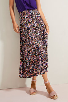 Emerge Printed Midi Skirt - 253319